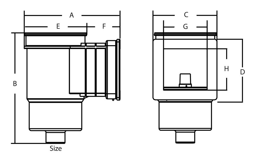 wymiary skimmer Mega ABS
